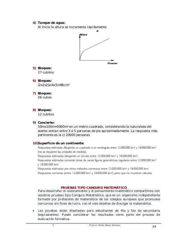 Profesor: Rubén Quispe Sairitupa 39  4) Tanque de agua:  Al inicio la altura se incrementa rápidamente.  5) Bloques:  27 c...