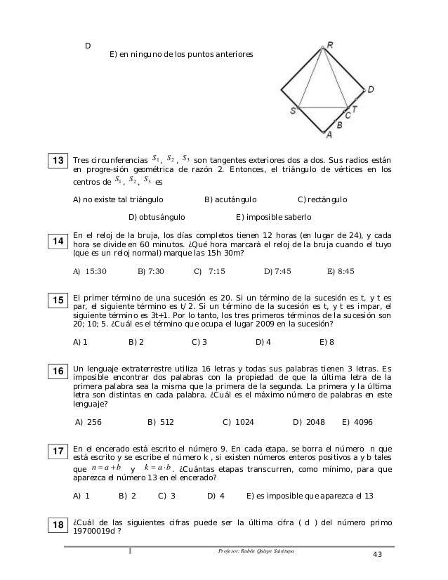 Profesor: Rubén Quispe Sairitupa 43  D  E) en ninguno de los puntos anteriores  Tres circunferencias S1 , S2 , S3 son tang...