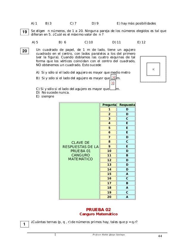 A) 1 B) 3 C) 7 D) 9 E) hay más posibilidades  Se eligen n números, de 1 a 20. Ninguna pareja de los números elegidos es ta...