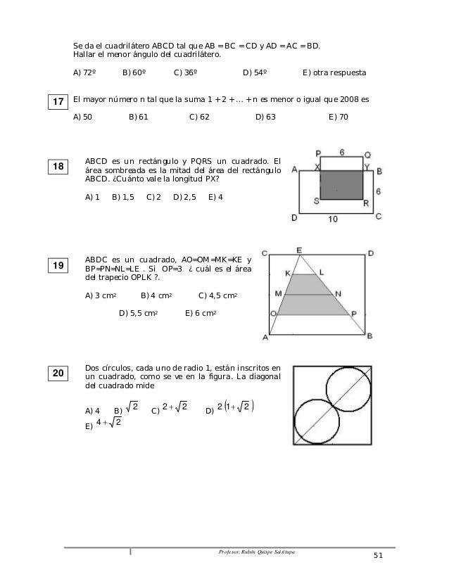 Se da el cuadrilátero ABCD tal que AB = BC = CD y AD = AC = BD.  Hallar el menor ángulo del cuadrilátero.  A) 72º B) 60º C...