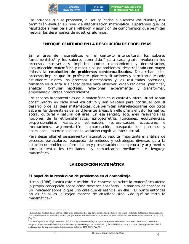 Profesor: Rubén Quispe Sairitupa 6  GOBIERNO  REGIONAL PUNO  Dirección  Regional de  Programa Presupuestal Logros  de Apre...