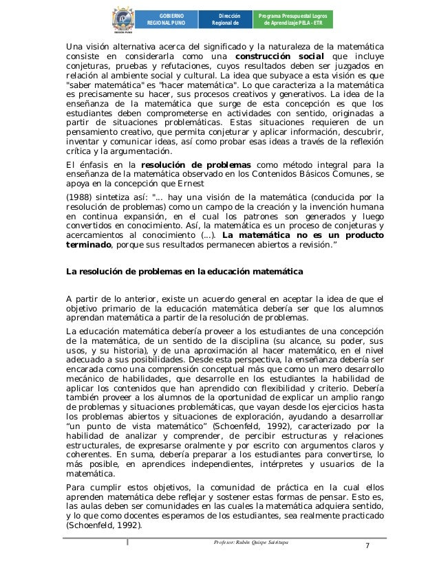 Profesor: Rubén Quispe Sairitupa 7  GOBIERNO  REGIONAL PUNO  Dirección  Regional de  Programa Presupuestal Logros  de Apre...