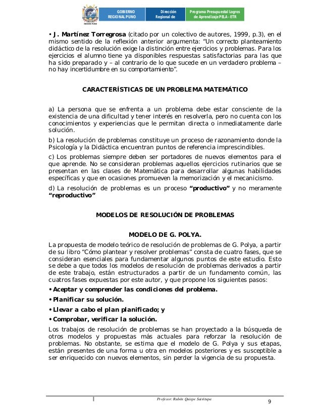 Profesor: Rubén Quispe Sairitupa 9  GOBIERNO  REGIONAL PUNO  Dirección  Regional de  Programa Presupuestal Logros  de Apre...