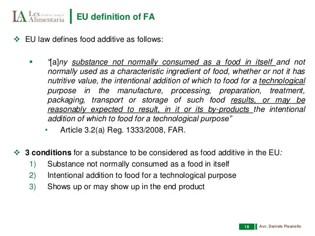 List Of Intentional Food Additives
