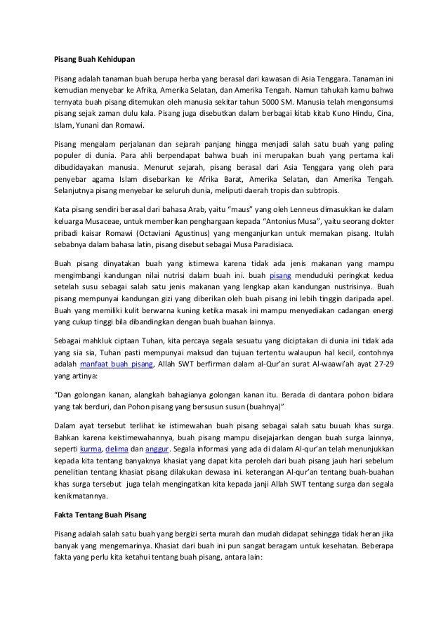 Pisang Buah Kehidupan Pisang adalah tanaman buah berupa herba yang berasal dari kawasan di Asia Tenggara. Tanaman ini kemu...