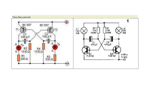 pisca de led com transistor 2 n3904