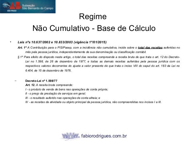 fabiorodrigues.com.br • Leis nºs 10.637/2002 e 10.833/2003 (vigência 1º/01/2015) Art. 1º A Contribuição para o PIS/Pasep, ...