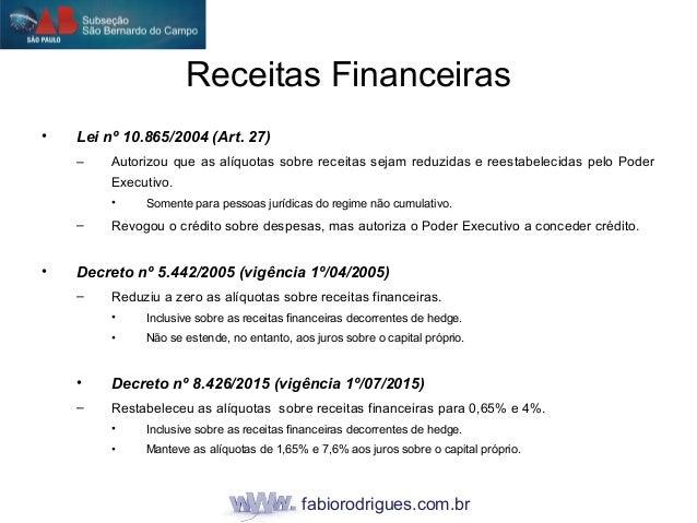 fabiorodrigues.com.br • Lei nº 10.865/2004 (Art. 27) – Autorizou que as alíquotas sobre receitas sejam reduzidas e reestab...