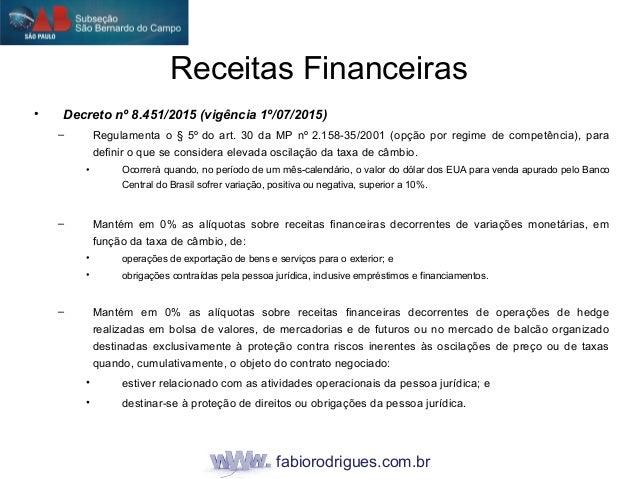fabiorodrigues.com.br • Decreto nº 8.451/2015 (vigência 1º/07/2015) – Regulamenta o § 5º do art. 30 da MP nº 2.158-35/2001...