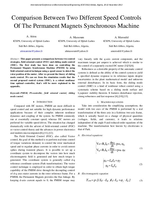 International Conference on Electromechanical Engineering (ICEE2012) Skikda, Algeria, 20-22 November 2012 Comparison Betwe...