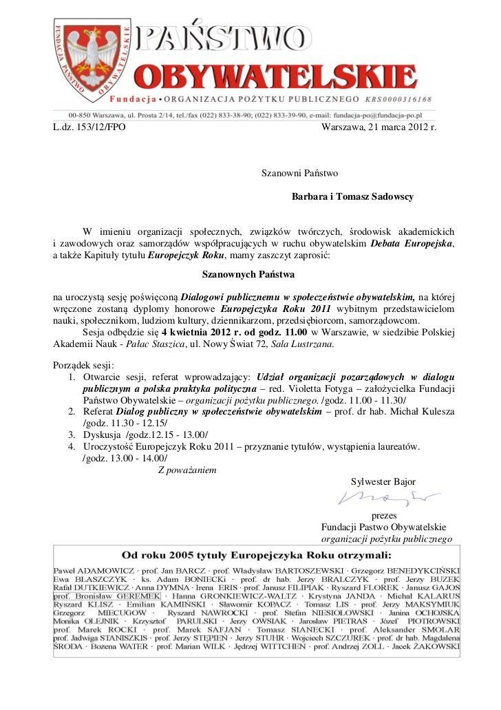 L.dz. 153/12/FPO                                              Warszawa, 21 marca 2012 r.                                  ...