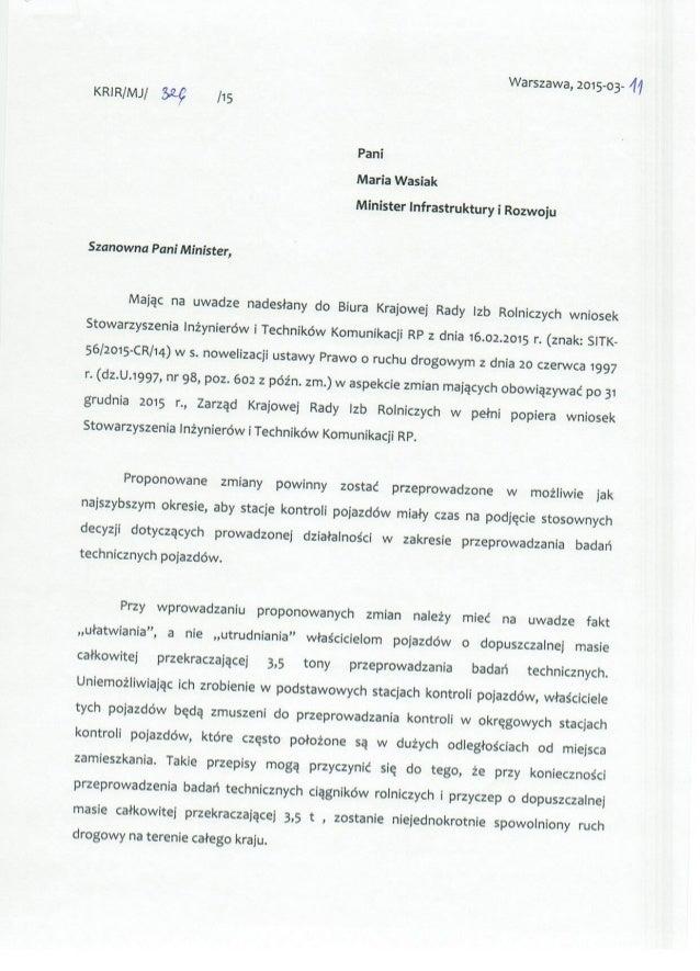 Warszawa,  2015-03- 'M KRIR/ MJ/   /15  Pan¡ María Wasiak  Minister lnfrastruktury i Rozwoju  Szanowna Pan¡ Minister,   56...