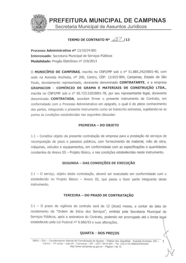 Pisos e calçadas contrato 217 2013