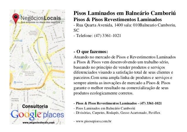 Pisos Laminados em Balneário CamboriúPisos & Pisos Revestimentos Laminados- Rua Quarta Avenida, 1400 sala: 010Balneario Ca...