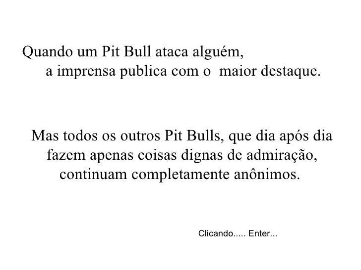 Quando um Pit Bull ataca alguém,  a imprensa publica com o  maior destaque. Mas todos os outros Pit Bulls, que dia após di...