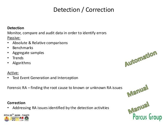 Detection / Correction Detection Monitor, compare and audit data in order to identify errors Passive: • Absolute & Relativ...