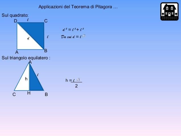 Applicazioni del Teorema di Pitagora … D C BA d l l d 2 = l 2 + l 2 Da cui d = l A BC H h l h = l 2 Sul quadrato: Sul tria...