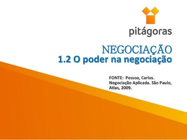 FONTE: Pessoa, Carlos. Negociação Aplicada. São Paulo, Atlas, 2009. NEGOCIAÇÃO 1.2 O poder na negociação 1