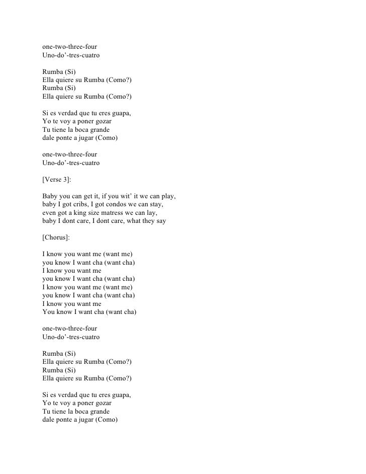 Lyric all i know lyrics : Pitbull I Know You Want Me (Calle Ocho) Lyrics