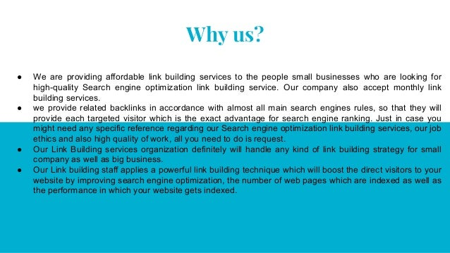 Why us? ● We are providing affordable link building services to the people small businesses who are looking for high-quali...