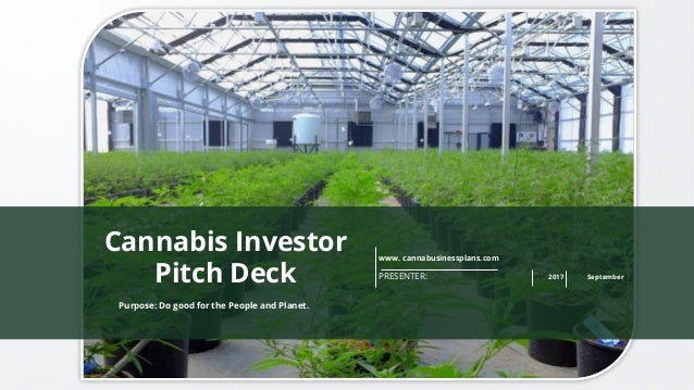 www. cannabusinessplans.com PRESENTER: 2017 September Purpose: Do good for the People and Planet. Cannabis Investor Pitch ...