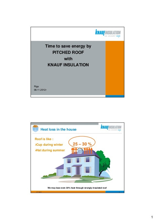 Time to save energy by                  PITCHED ROOF                        with                KNAUF INSULATIONRiga08.11....