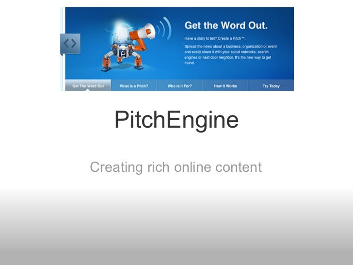 PitchEngineCreating rich online content