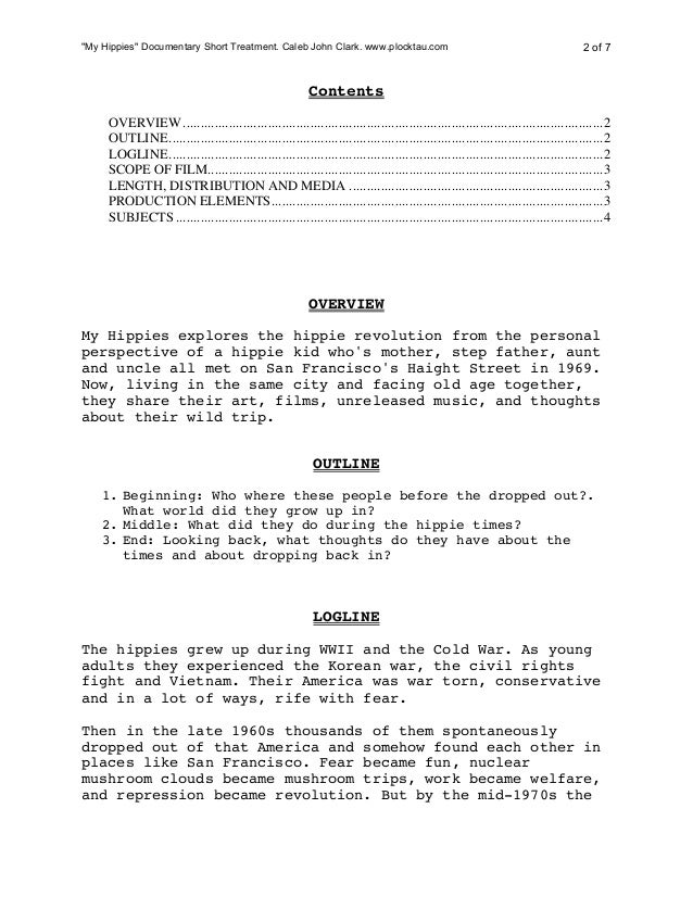 film treatment template - pitch example