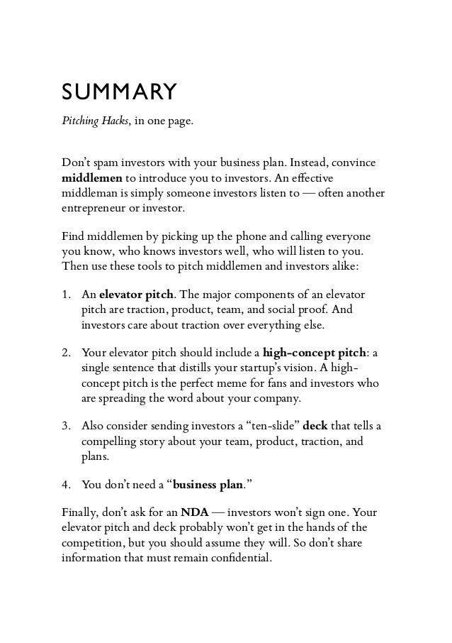 Pitching Hacks from Angelco – One Page Summary Template