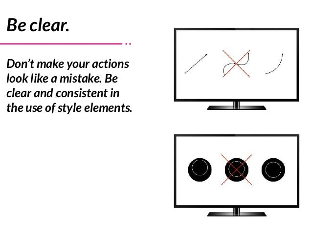 Be clear. Don't make your actions look like a mistake. Be clear and consistent in the use of style elements.