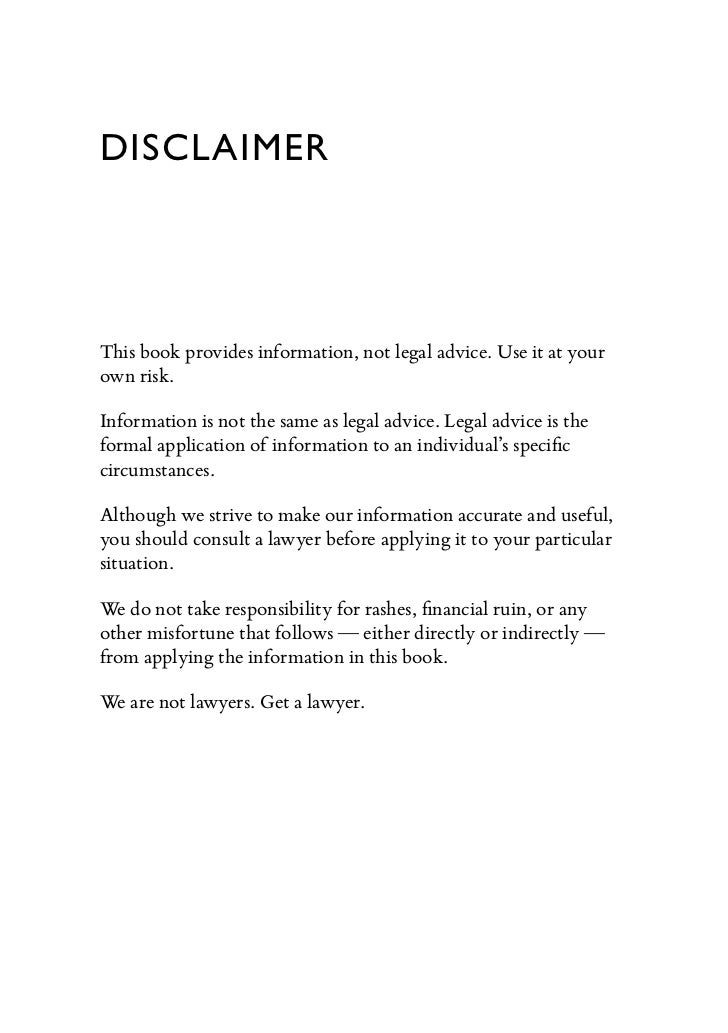 Pitching hacks preview for Legal advice disclaimer template