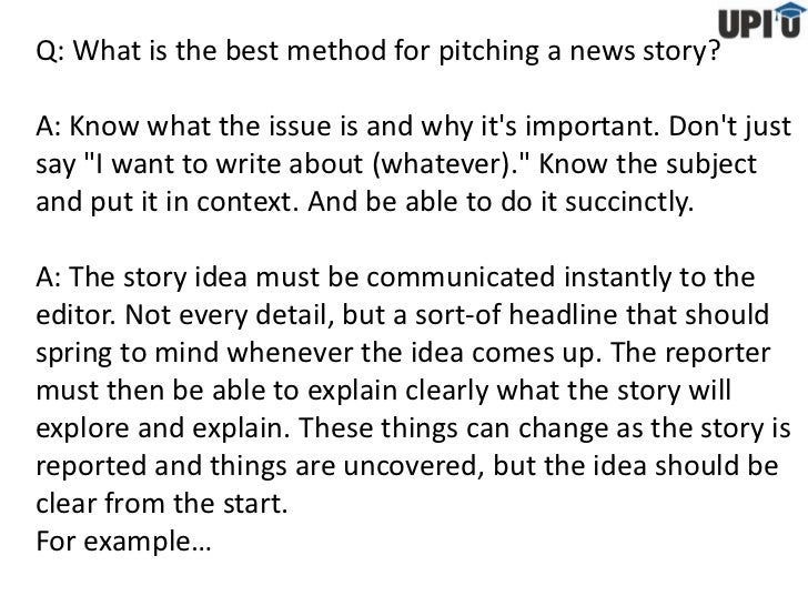 Pitching stories to editors
