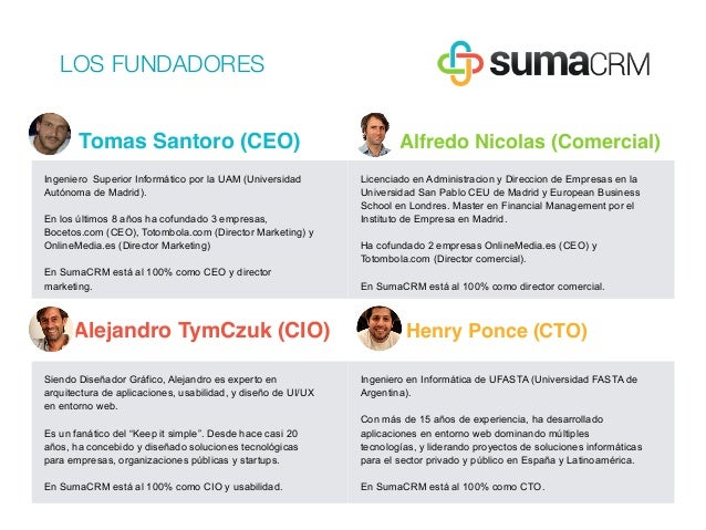 Tomas Santoro (CEO) Alfredo Nicolas (Comercial) Ingeniero Superior Informático por la UAM (Universidad Autónoma de Madrid)...