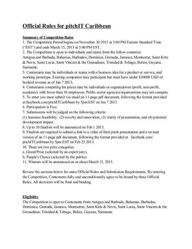 Official Rules for pitchIT CaribbeanSummary of Competition Rules1. The Competition Period begins on November 30 2012 at 5:...