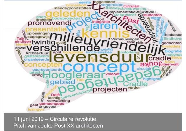 11 juni 2019 – Circulaire revolutie Pitch van Jouke Post XX architecten