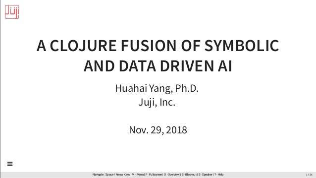 A CLOJURE FUSION OF SYMBOLIC AND DATA DRIVEN AI Huahai Yang, Ph.D. Juji, Inc. Nov. 29, 2018 Navigate : Space / Arrow Keys ...