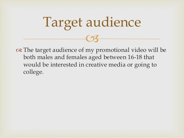 Crew members                The crew members that I will need in order to create  this promotional video include; Camer...