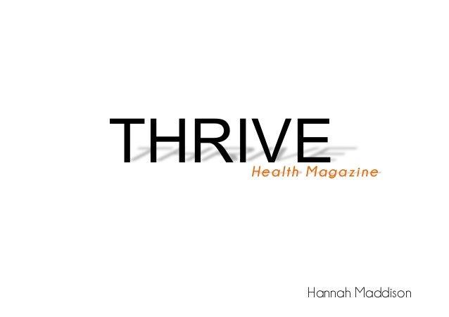 THRIVE  Health Magazine  Hannah Maddison