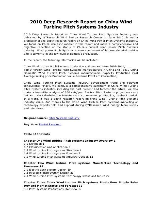 2010 Deep Research Report on China Wind Turbine Pitch Systems Industry 2010 Deep Research Report on China Wind Turbine Pit...