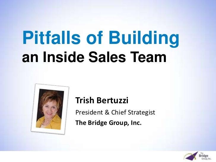 Pitfalls of Buildingan Inside Sales Team<br />Trish Bertuzzi <br />President & Chief Strategist <br />The Bridge Group, In...
