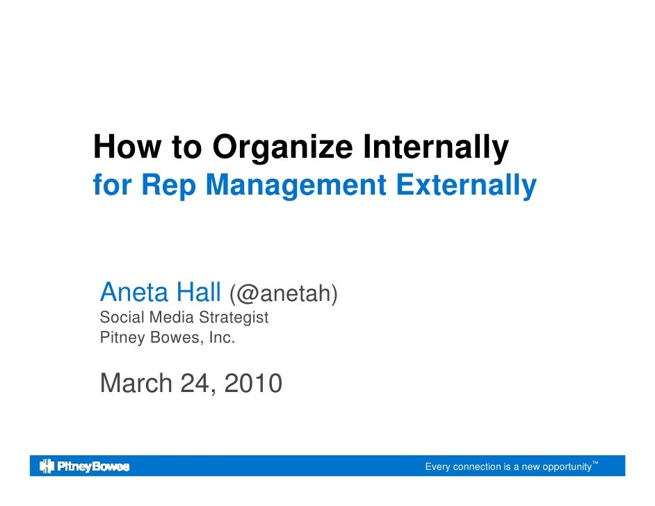 How to Organize Internally for Rep Management Externally   Aneta Hall (@anetah) Social Media Strategist Pitney Bowes, Inc....
