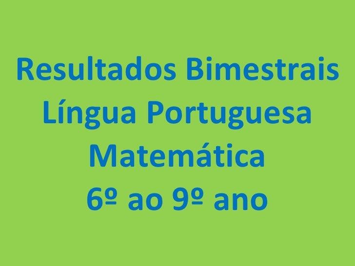 Resultados Bimestrais Língua Portuguesa Matemática 6º ao 9º ano
