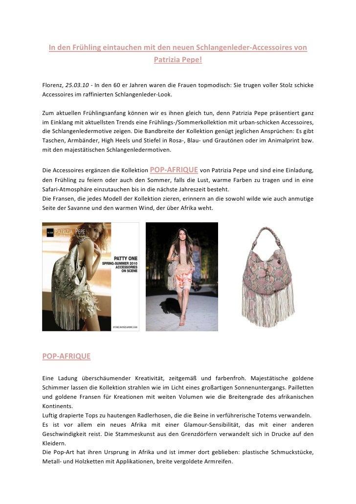 In den Frühling eintauchen mit den neuen Schlangenleder-Accessoires von                                Patrizia Pepe!  Flo...