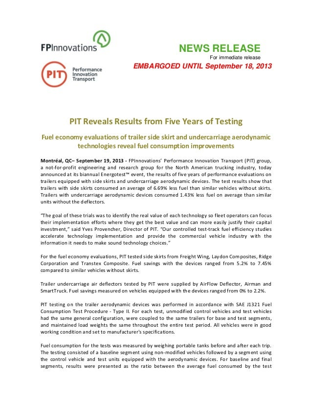NEWS RELEASE For immediate release EMBARGOED UNTIL September 18, 2013           PIT Reveals Results from Five Years of Tes...
