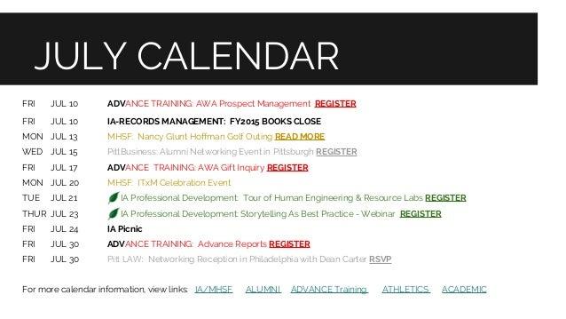 Pitt Academic Calendar.Pitt Advancement News July 2015 1