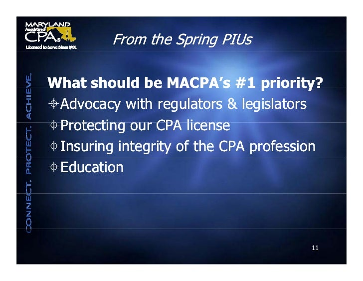 From the Spring PIUs  What should be MACPA s #1 priority?                   MACPA's Advocacy with regulators & legislator...