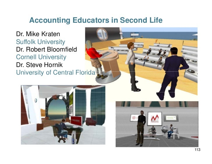 Accounting Educators in Second Life Dr. Mike Kraten Suffolk University Dr. Robert Bloomfield Cornell University Dr. Steve ...