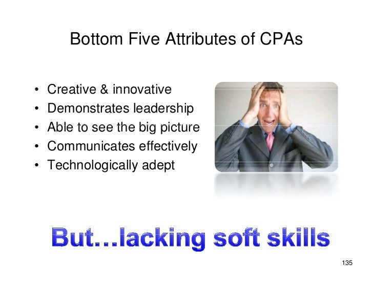 Bottom Five Attributes of CPAs  •   Creative & innovative •   Demonstrates leadership •   Able to see the big picture •   ...