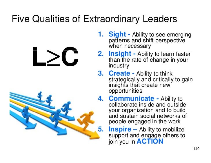 Five Qualities of Extraordinary Leaders                     1. Sight - Ability to see emerging                          pa...