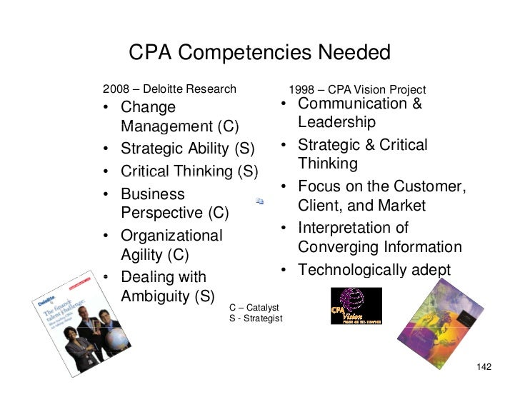 CPA Competencies Needed 2008 – Deloitte Research               1998 – CPA Vision Project • Change                         ...